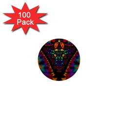 Symmetric Fractal Image In 3d Glass Frame 1  Mini Buttons (100 Pack)