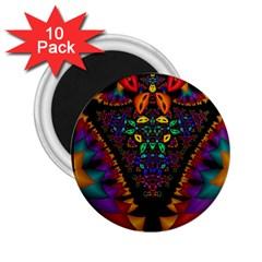Symmetric Fractal Image In 3d Glass Frame 2 25  Magnets (10 Pack)
