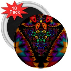 Symmetric Fractal Image In 3d Glass Frame 3  Magnets (10 Pack)
