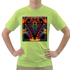 Symmetric Fractal Image In 3d Glass Frame Green T Shirt