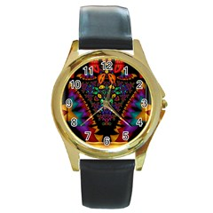 Symmetric Fractal Image In 3d Glass Frame Round Gold Metal Watch