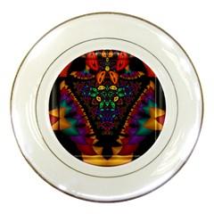 Symmetric Fractal Image In 3d Glass Frame Porcelain Plates