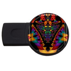Symmetric Fractal Image In 3d Glass Frame USB Flash Drive Round (4 GB)