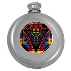 Symmetric Fractal Image In 3d Glass Frame Round Hip Flask (5 oz)