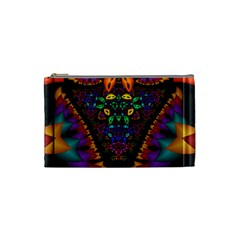 Symmetric Fractal Image In 3d Glass Frame Cosmetic Bag (small)