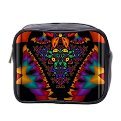 Symmetric Fractal Image In 3d Glass Frame Mini Toiletries Bag 2 Side