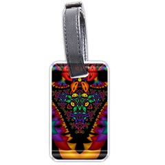 Symmetric Fractal Image In 3d Glass Frame Luggage Tags (One Side)