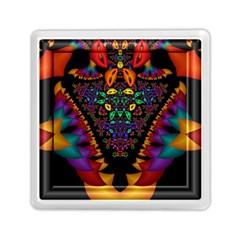 Symmetric Fractal Image In 3d Glass Frame Memory Card Reader (square)