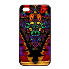 Symmetric Fractal Image In 3d Glass Frame Apple Iphone 4/4s Seamless Case (black)