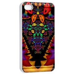 Symmetric Fractal Image In 3d Glass Frame Apple iPhone 4/4s Seamless Case (White)