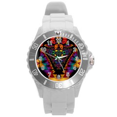 Symmetric Fractal Image In 3d Glass Frame Round Plastic Sport Watch (L)