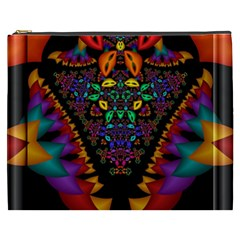 Symmetric Fractal Image In 3d Glass Frame Cosmetic Bag (XXXL)