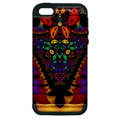 Symmetric Fractal Image In 3d Glass Frame Apple iPhone 5 Hardshell Case (PC+Silicone)