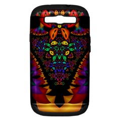 Symmetric Fractal Image In 3d Glass Frame Samsung Galaxy S III Hardshell Case (PC+Silicone)