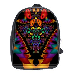 Symmetric Fractal Image In 3d Glass Frame School Bags (XL)