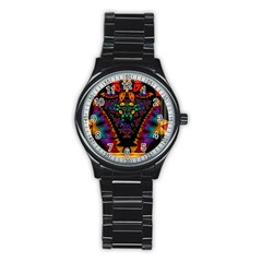 Symmetric Fractal Image In 3d Glass Frame Stainless Steel Round Watch