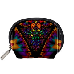 Symmetric Fractal Image In 3d Glass Frame Accessory Pouches (Small)
