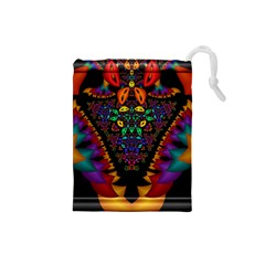 Symmetric Fractal Image In 3d Glass Frame Drawstring Pouches (Small)