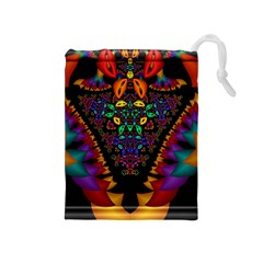 Symmetric Fractal Image In 3d Glass Frame Drawstring Pouches (Medium)