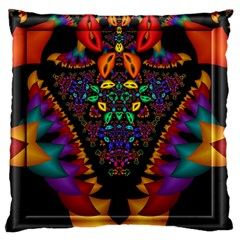 Symmetric Fractal Image In 3d Glass Frame Large Flano Cushion Case (two Sides)