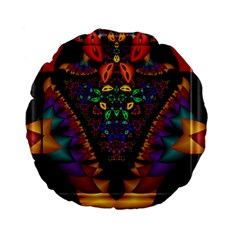 Symmetric Fractal Image In 3d Glass Frame Standard 15  Premium Flano Round Cushions