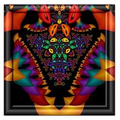 Symmetric Fractal Image In 3d Glass Frame Large Satin Scarf (Square)