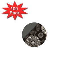 Abstract Mandala Background Pattern 1  Mini Buttons (100 Pack)