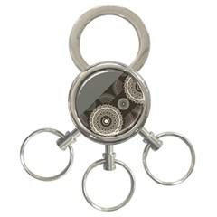 Abstract Mandala Background Pattern 3 Ring Key Chains
