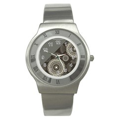 Abstract Mandala Background Pattern Stainless Steel Watch