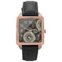 Abstract Mandala Background Pattern Rose Gold Leather Watch
