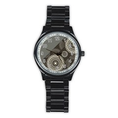 Abstract Mandala Background Pattern Stainless Steel Round Watch