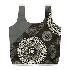 Abstract Mandala Background Pattern Full Print Recycle Bags (L)
