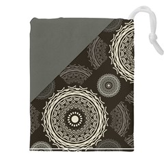 Abstract Mandala Background Pattern Drawstring Pouches (xxl)