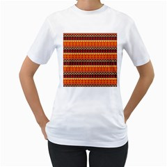 Abstract Lines Seamless Pattern Women s T-Shirt (White) (Two Sided)