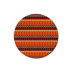 Abstract Lines Seamless Pattern Rubber Round Coaster (4 Pack)