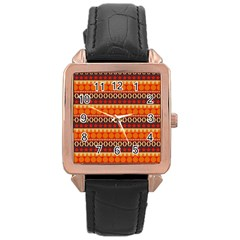 Abstract Lines Seamless Pattern Rose Gold Leather Watch