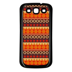 Abstract Lines Seamless Pattern Samsung Galaxy S3 Back Case (Black)