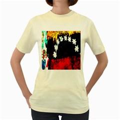Grunge Abstract In Dark Women s Yellow T Shirt