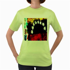 Grunge Abstract In Dark Women s Green T Shirt
