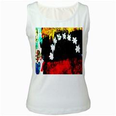 Grunge Abstract In Dark Women s White Tank Top