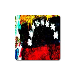 Grunge Abstract In Dark Square Magnet