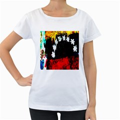 Grunge Abstract In Dark Women s Loose-Fit T-Shirt (White)