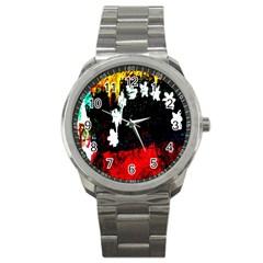 Grunge Abstract In Dark Sport Metal Watch