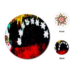 Grunge Abstract In Dark Playing Cards (round)