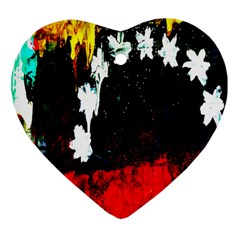 Grunge Abstract In Dark Heart Ornament (Two Sides)