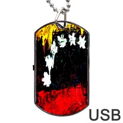 Grunge Abstract In Dark Dog Tag USB Flash (Two Sides)
