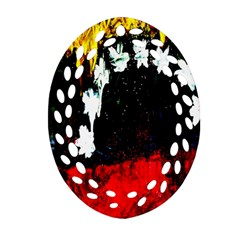 Grunge Abstract In Dark Oval Filigree Ornament (Two Sides)