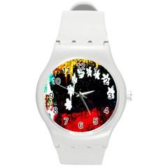 Grunge Abstract In Dark Round Plastic Sport Watch (M)