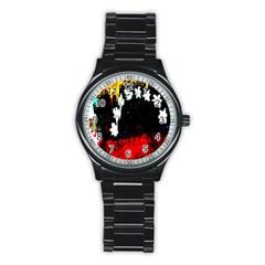 Grunge Abstract In Dark Stainless Steel Round Watch