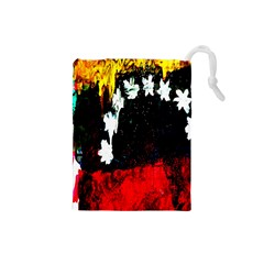 Grunge Abstract In Dark Drawstring Pouches (Small)